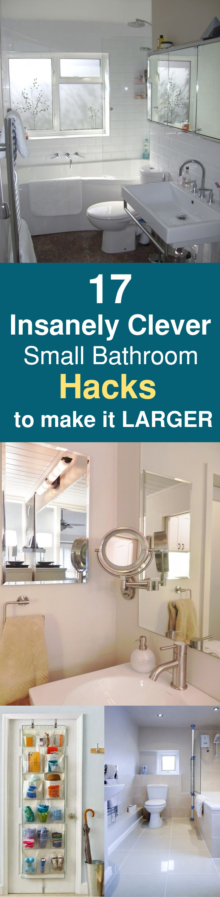 17 insanely clever small bathroom hacks to make it larger for Small bathroom hacks