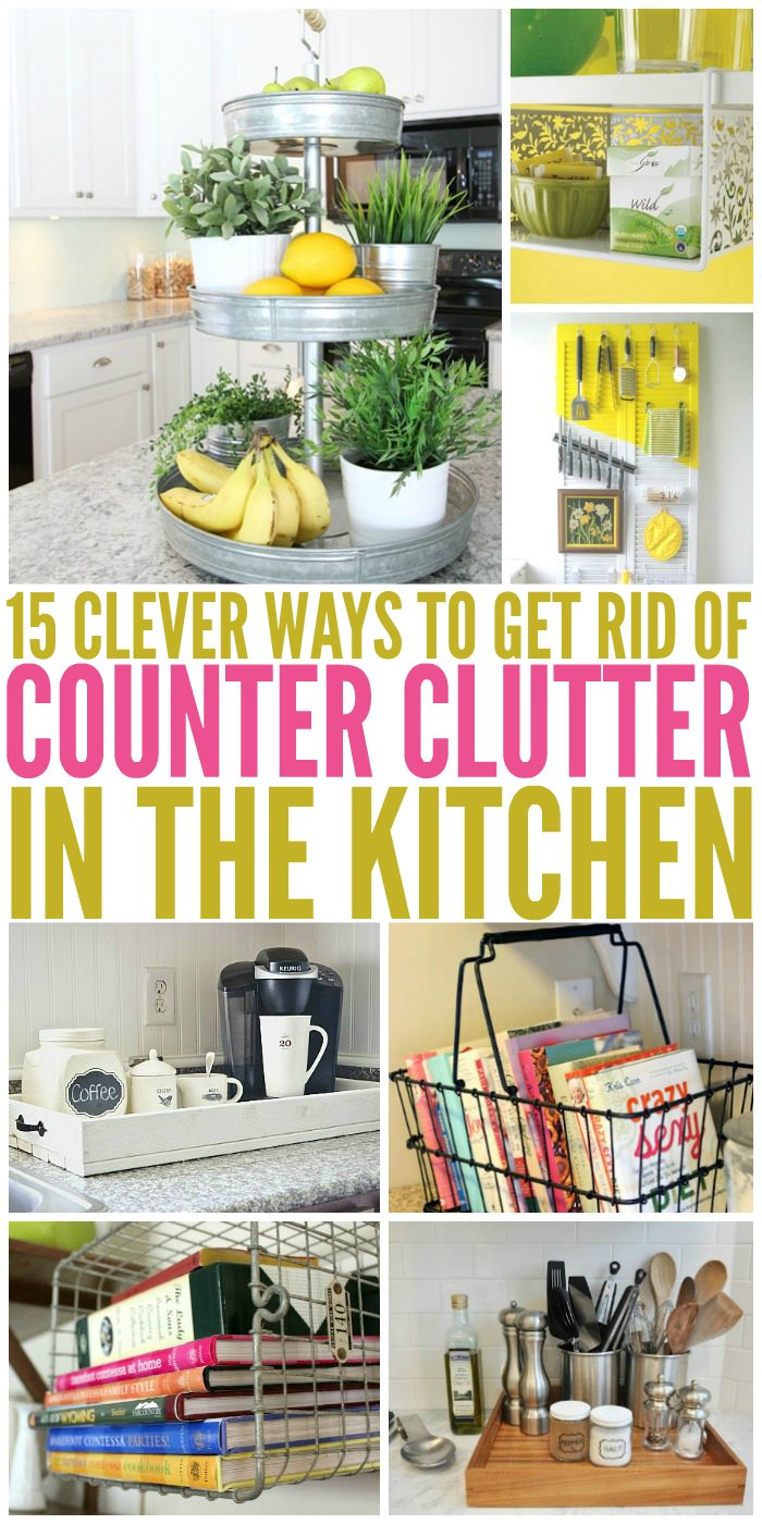 The kitchen counter is probably one of the most cluttered spaces we have. But think no more, look at these 15 clever ways to get rid of kitchen counter clutter.