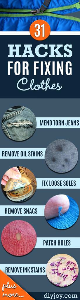 Don't you hate it when you have to throw out a beloved garment after it is damaged? Why not, but will you be happy after finding out that many stains, spills and snags can be repaired. Read these 31 DIY Hacks For Fixing Ruined Clothes to know more.