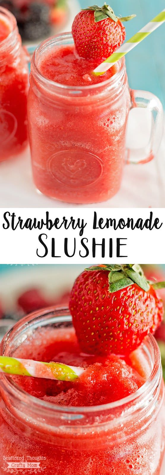 Strawberries, who don't love them. If you have some strawberries in your home and you need to use them up quickly and searching for what to do, make a strawberry lemonade slushie.