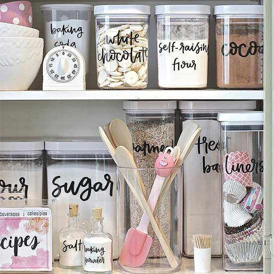 Find a solution for every storage problem with these simple, affordable tags and stickers in fun designs. Keep your space organized with these pretty pantry labels.