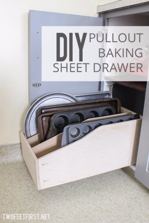 Want to organize all of your bakewares-- this is a great idea to follow. Check out this DIY pullout baking sheet drawer.