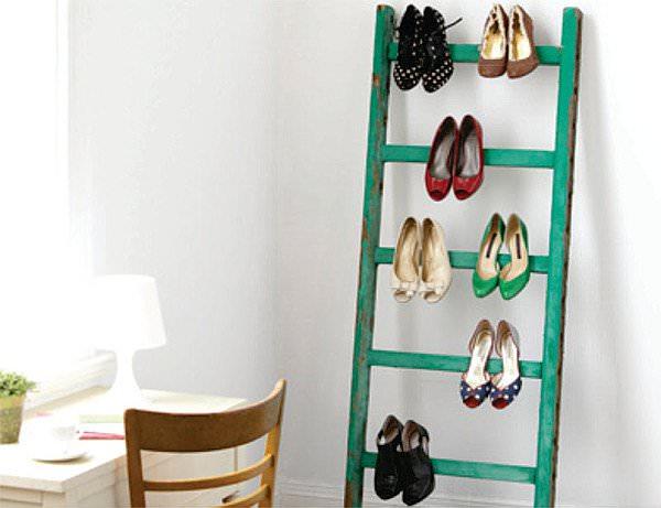 Ladder-As-Shoe-Storage