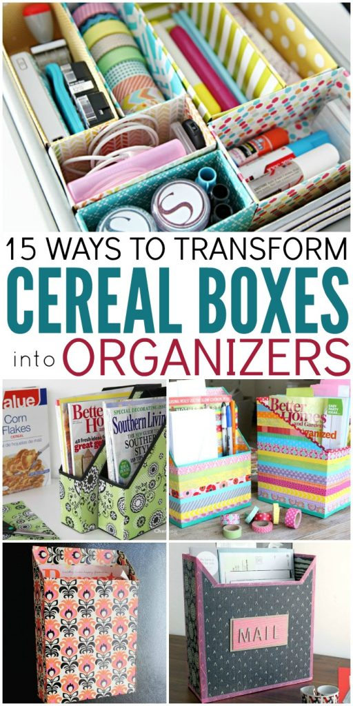 Don't want to spend money on containers to organize things? Turn those cereal boxes you throw away into organizers! Check out!
