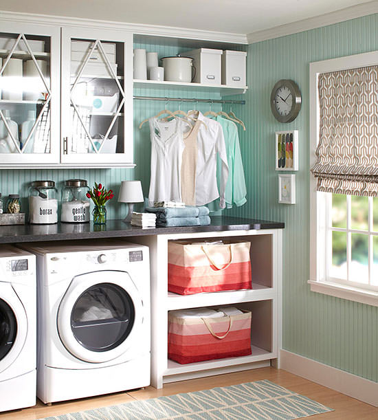 Organize your laundry room and get more storage and style out of your washer-dryer space with inventive, design-smart laundry room cabinetry ideas given here.