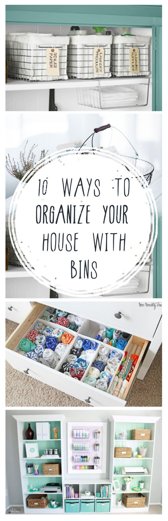 It's easy to organize your house with bins using these ideas. Use them to store clothes, organize files, your cleaning supplies and much more!