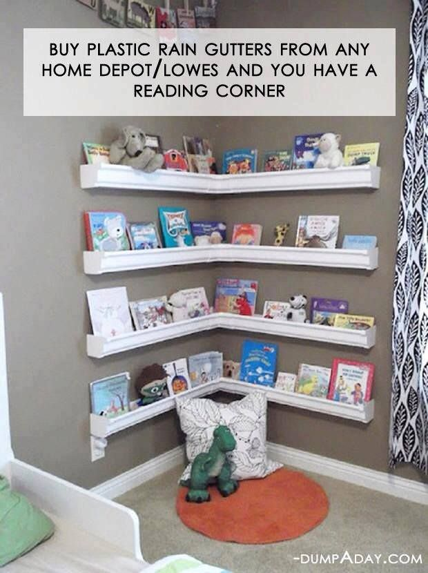 Rain gutters can be useful we all know that-- lots of indoor and outdoor DIY ideas flooding the internet. But do you know you can even make bookshelves out of them?