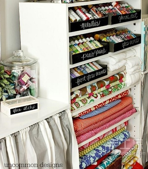 Trish at u0027Uncommon Designsu0027 gives us a craft room tour and you can get so many good ideas! This photo of her storage system includes a simple bookcase and ... & Craft Storage Ideas for Small Spaces u2022 VeryHom