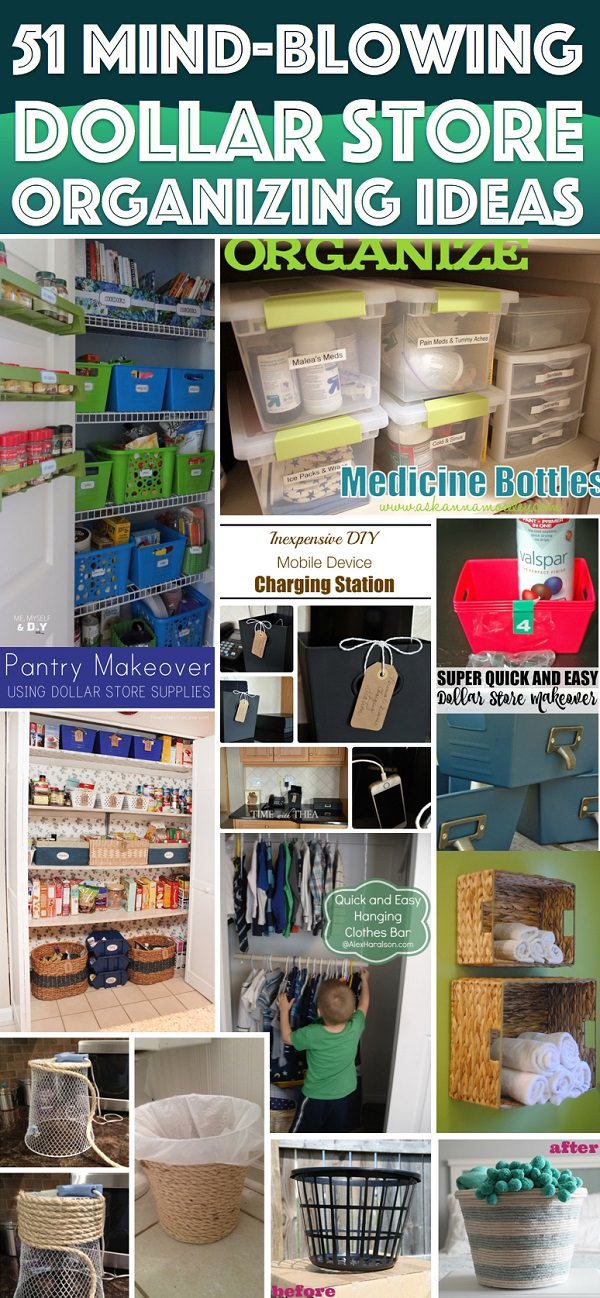 The dollar store is a right place to find home ORGANIZATION stuff at a right price. If you're thinking about to do a makeover, these Dollar store organizing ideas are best to look at!